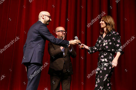 """Peter Kujawski, Chairman of Focus Features, Producer Youree Henley and Writer/Director Sofia Coppola speak at The U.S. Premiere of Focus Features """"The Beguiled"""" at Directors Guild of America, in Los Angeles"""