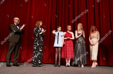 """Producer Youree Henley, Writer/Director Sofia Coppola, Addison Riecke, Emma Howard, Elle Fanning and Kirsten Dunst speak at The U.S. Premiere of Focus Features """"The Beguiled"""" at Directors Guild of America, in Los Angeles"""