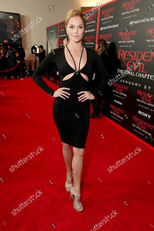 """Ellen Hollman seen at The World Premiere of Screen Gems' """"Resident Evil: The Final Chapter"""" at Regal LA Live, in Los Angeles"""