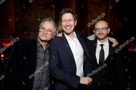 """Stock Image of Screen Gems President Clint Culpepper, Director/Writer/Producer Paul W. S. Anderson and Producer Jeremy Bolt seen at The World Premiere of Screen Gems' """"Resident Evil: The Final Chapter"""" after party at Regal LA Live, in Los Angeles"""