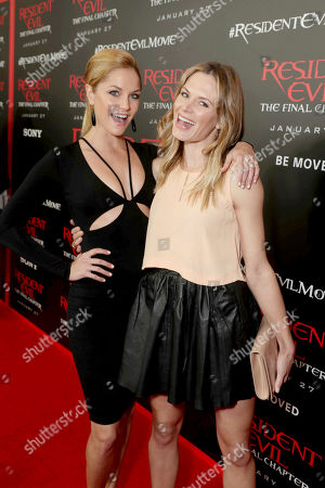 """Ellen Hollman and Lauren Shaw seen at The World Premiere of Screen Gems' """"Resident Evil: The Final Chapter"""" at Regal LA Live, in Los Angeles"""
