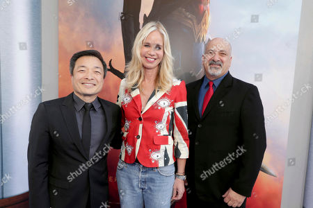 """Stock Image of Jim Lee, Publisher, DC Entertainment, Diane Nelson, President, DC Entertainment and President, Warner Bros. Consumer Products, and Dan DiDio, Publisher, DC Entertainment, seen at The World Premiere of Warner Bros. Pictures """"Wonder Woman"""" at The Pantages Theatre, in Los Angeles"""