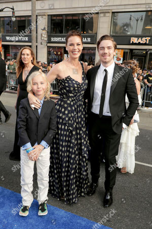"Bryce Thadeus Ulrich-Nielsen, Connie Nielsen and Sebastian Sartor seen at The World Premiere of Warner Bros. Pictures ""Wonder Woman"" at The Pantages Theatre, in Los Angeles"
