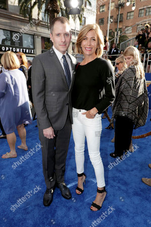"""Writer Allan Heinberg and Sonya Walger seen at The World Premiere of Warner Bros. Pictures """"Wonder Woman"""" at The Pantages Theatre, in Los Angeles"""