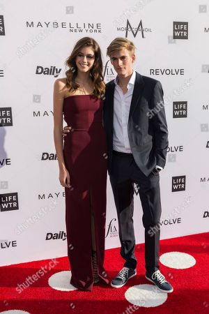 Kaia Jorden Gerber, left, and Presley Walker Gerber arrive at the Third Annual Fashion Los Angeles Awards at the Sunset Tower Hotel, in West Hollywood, Calif