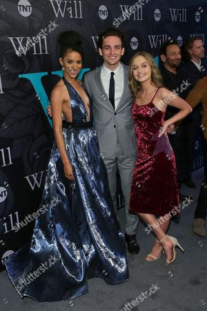 """Actors Jasmin Savoy Brown, from left, Laurie Davidson and Olivia Dejonge attend TNT's """"Will"""" season premiere at Bryant Park, in New York"""