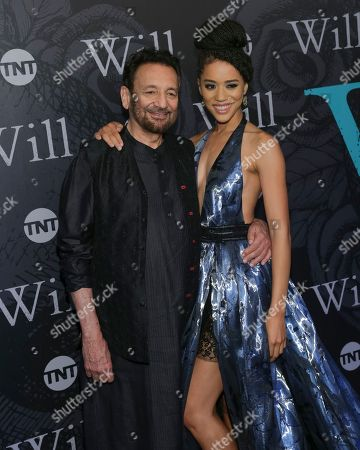 "Director/Executive Producer Shekhar Kapur, left, and Actress Jasmin Savoy Brown attend TNT's ""Will"" season premiere at Bryant Park, in New York"