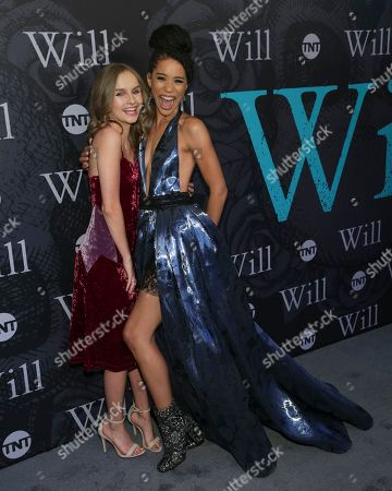 """Actresses Olivia Dejonge, left, and Jasmin Savoy Brown attend TNT's """"Will"""" season premiere at Bryant Park, in New York"""