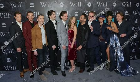 "Actors Max Bennett, from left, Jamie Campbell Bower, Executive Producer Craig Pearce, Actors Mattias Inwood, Laurie Davidson, Olivia Dejonge, Director/Executive Producer Shekhar Kapur, Actors Colm Meaney, Ewen Bremner, Jasmin Savoy Brown and William Houston attend TNT's ""Will"" season premiere at Bryant Park, in New York"