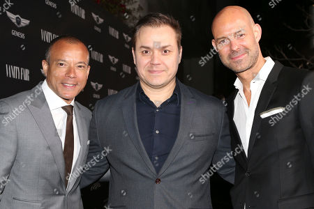 """Stock Picture of Manfred Fitzgerald, from left, Theodore Melfi and Chris Mitchell arrive at the Toast to the Cast and Filmmakers of """"Hidden Figures"""" at Spago restaurant, in Beverly Hills, Calif"""
