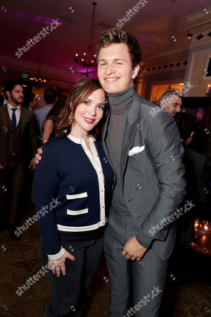 "Hannah Minghella, President of TriStar Pictures, and Ansel Elgort seen at TriStar Pictures ""Baby Driver"" Los Angeles Premiere Sponsored by Subaru after party at Clifton's Cafeteria, in Los Angeles"