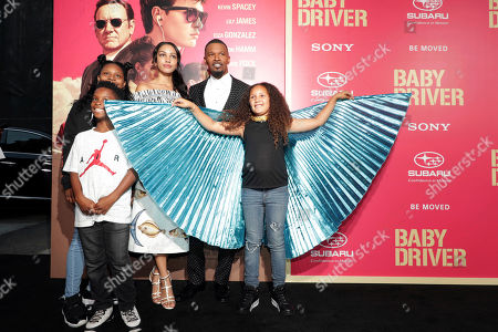 "Stock Picture of Corinne Foxx, Jamie Foxx and Annalise Bishop seen at TriStar Pictures ""Baby Driver"" Los Angeles Premiere Sponsored by Subaru at Ace Hotel Downtown Los Angeles, in Los Angeles"