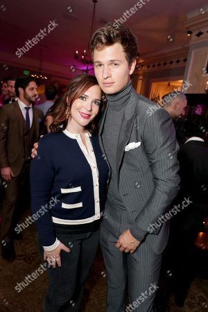 """Hannah Minghella, President of TriStar Pictures, and Ansel Elgort seen at TriStar Pictures """"Baby Driver"""" Los Angeles Premiere Sponsored by Subaru after party at Clifton's Cafeteria, in Los Angeles"""