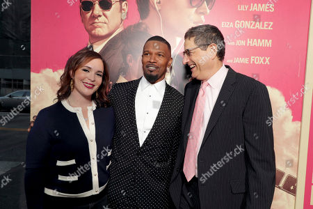 "Hannah Minghella, President of TriStar Pictures, Jamie Foxx and Thomas Rothman, Chairman of Sony Pictures Entertainment's Motion Picture Group, seen at TriStar Pictures ""Baby Driver"" Los Angeles Premiere Sponsored by Subaru at Ace Hotel Downtown Los Angeles, in Los Angeles"
