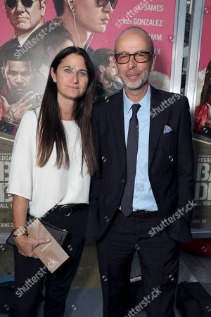"Liza Chasin, President of Working Title Films, Producer Eric Fellner seen at TriStar Pictures ""Baby Driver"" Los Angeles Premiere Sponsored by Subaru at Ace Hotel Downtown Los Angeles, in Los Angeles"