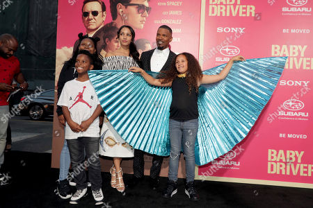 "Corinne Foxx, Jamie Foxx and Annalise Bishop seen at TriStar Pictures ""Baby Driver"" Los Angeles Premiere Sponsored by Subaru at Ace Hotel Downtown Los Angeles, in Los Angeles"