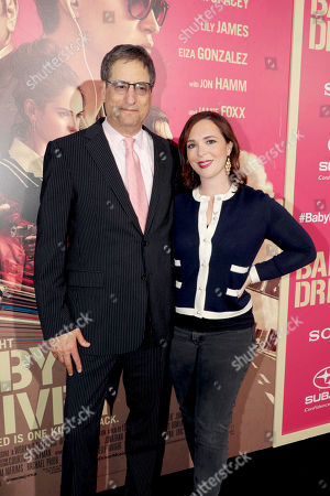 "Thomas Rothman, Chairman of Sony Pictures Entertainment's Motion Picture Group, and Hannah Minghella, President of TriStar Pictures, seen at TriStar Pictures ""Baby Driver"" Los Angeles Premiere Sponsored by Subaru at Ace Hotel Downtown Los Angeles, in Los Angeles"