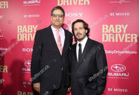 """Thomas Rothman, Chairman of Sony Pictures Entertainment's Motion Picture Group, and Writer/Director/Executive Producer Edgar Wright seen at TriStar Pictures """"Baby Driver"""" Los Angeles Premiere Sponsored by Subaru at Ace Hotel Downtown Los Angeles, in Los Angeles"""