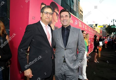 """Thomas Rothman, Chairman of Sony Pictures Entertainment's Motion Picture Group, and Jon Hamm seen at TriStar Pictures """"Baby Driver"""" Los Angeles Premiere Sponsored by Subaru at Ace Hotel Downtown Los Angeles, in Los Angeles"""