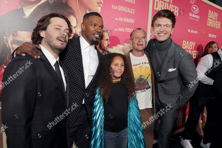 "Writer/Director/Executive Producer Edgar Wright, Jamie Foxx, Annalise Bishop, Flea and Ansel Elgort seen at TriStar Pictures ""Baby Driver"" Los Angeles Premiere Sponsored by Subaru at Ace Hotel Downtown Los Angeles, in Los Angeles"