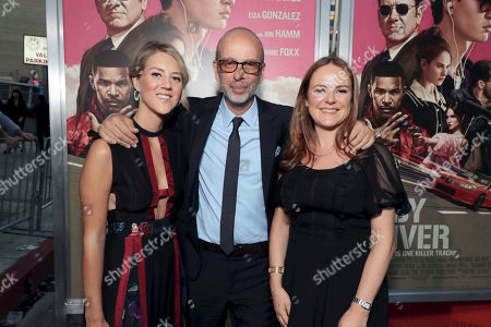 """Associate Producer Leo Thompson, Producer Eric Fellner and Producer Nira Park seen at TriStar Pictures """"Baby Driver"""" Los Angeles Premiere Sponsored by Subaru at Ace Hotel Downtown Los Angeles, in Los Angeles"""