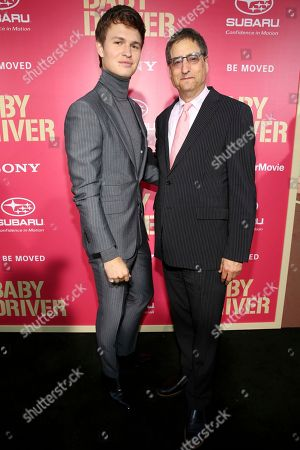 """Ansel Elgort and Thomas Rothman, Chairman of Sony Pictures Entertainment's Motion Picture Group, seen at TriStar Pictures """"Baby Driver"""" Los Angeles Premiere Sponsored by Subaru at Ace Hotel Downtown Los Angeles, in Los Angeles"""