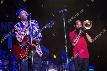 "Walter ""Wolfman"" Washington, left, performs with Trombone Shorty of Trombone Shorty and Orleans Avenue at the Saenger Theatre, in New Orleans"