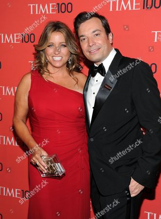 """Stock Photo of Talk show host Jimmy Fallon and his wife Nancy Juvonen at the TIME 100 Gala celebrating the """"100 Most Influential People in the World"""" at Jazz at Lincoln Center in New York. A representative says Fallon and his wife, Nancy Juvonen Fallon, welcomed a baby daughter Tuesday, July 23"""