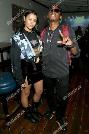 Stock Picture of Sami Miro and Trap Beckham attend UMG's Music is Universal Artist Lounge Presented by O Organics and PUMA at SXSW on in Austin, Texas