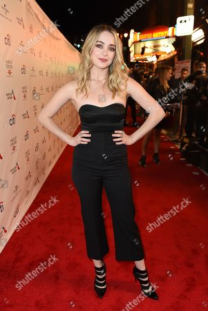 Hannah Kasulka arrives at Universal Music Group's 2017 Grammy After Party at The Theatre at Ace Hotel, in Los Angeles