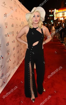 Maty Noyes arrives at Universal Music Group's 2017 Grammy After Party at The Theatre at Ace Hotel, in Los Angeles