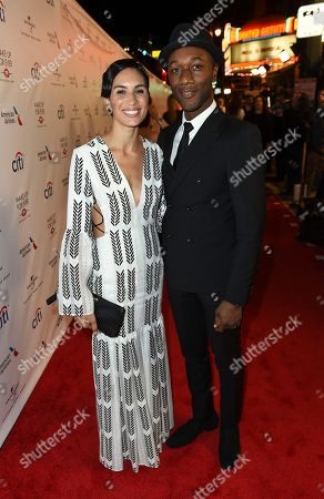 Stock Image of Maya Jupiter and Aloe Blacc arrive at Universal Music Group's 2017 Grammy After Party at The Theatre at Ace Hotel, in Los Angeles