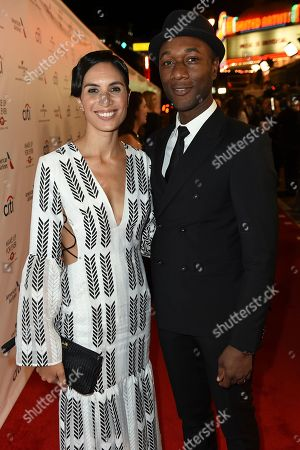 Maya Jupiter and Aloe Blacc arrive at Universal Music Group's 2017 Grammy After Party at The Theatre at Ace Hotel, in Los Angeles