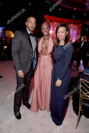 Alano Miller, Associate Producer Oge Egbuonu and Terri Abney seen at Universal, NBC, Focus Features, E! Entertainment Golden Globes After Party Sponsored by Chrysler, in Beverly Hills, Calif