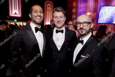 Focus Features COO Abhijay Prakash, Jeff Nichols and Peter Kujawski, Chariman of Focus Features, seen at Universal, NBC, Focus Features, E! Entertainment Golden Globes After Party Sponsored by Chrysler, in Beverly Hills, Calif