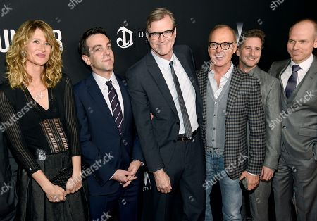 "Stock Image of Laura Dern, from left, B. J. Novak, director John Lee Hancock, Michael Keaton and producers Aaron Ryder and Don Handfield arrive at the U.S. premiere of ""The Founder"" at the Cinerama Dome at ArcLight Hollywood, in Los Angeles"