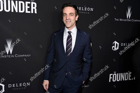"B. J. Novak arrives at the U.S. premiere of ""The Founder"" at the Cinerama Dome at ArcLight Hollywood, in Los Angeles"