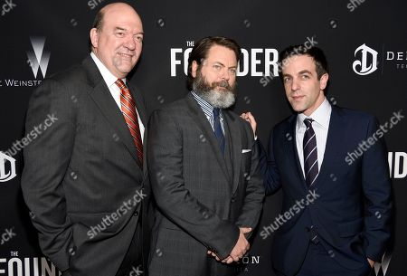 "John Carroll Lynch, from left, Nick Offerman and B. J. Novak arrive at the U.S. premiere of ""The Founder"" at the Cinerama Dome at ArcLight Hollywood, in Los Angeles"