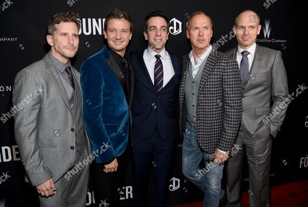 "Producers Aaron Ryder, from left, Jeremy Renner, actors B. J. Novak, Michael Keaton and producer Don Handfield arrive at the U.S. premiere of ""The Founder"" at the Cinerama Dome at ArcLight Hollywood, in Los Angeles"