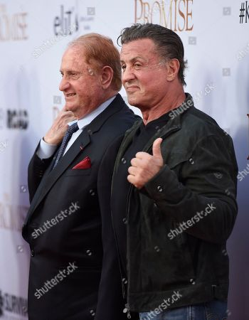 """Producer Mike Medavoy, left, and Sylvester Stallone arrive at the U.S. premiere of """"The Promise"""" at the TCL Chinese Theatre, in Los Angeles"""