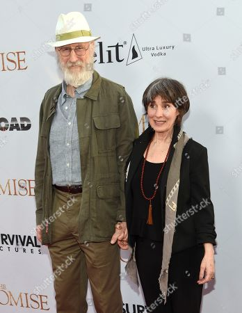 """James Cromwell, left, and Anna Stuart arrive at the U.S. premiere of """"The Promise"""" at the TCL Chinese Theatre, in Los Angeles"""