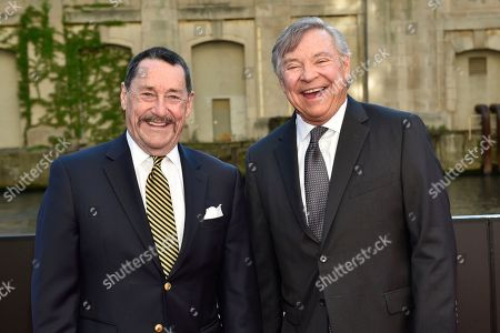 """Peter Cullen (left) and Frank Welker seen at the US Premiere of """"Transformers: The Last Knight"""" at the Civic Opera House, in Chicago"""
