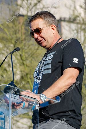 """Jeremy Zimmer speaks at the UTA """"United Voices"""" Rally at UTA headquarters, in Beverly Hills, Calif"""
