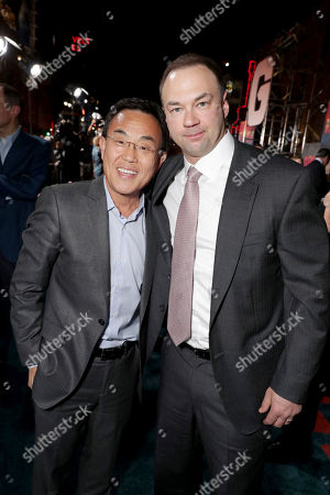 "Jack Gao, CEO of Legendary Pictures, and Producer Thomas Tull and Corey Hawkins seen at Warner Bros. Pictures and Legendary Pictures Present the Los Angeles Premiere of ""Kong: Skull Island"" at Dolby Theatre, in Los Angeles"