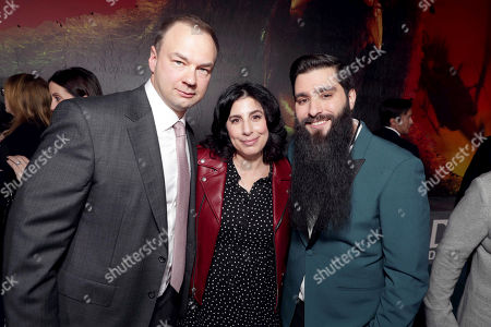 "Thomas Tull, Sue Kroll, President, Worldwide Marketing and Distribution, Warner Bros. Pictures, and Director Jordan Vogt-Roberts seen at Warner Bros. Pictures and Legendary Pictures Present the Los Angeles Premiere of ""Kong: Skull Island"" at Dolby Theatre, in Los Angeles"