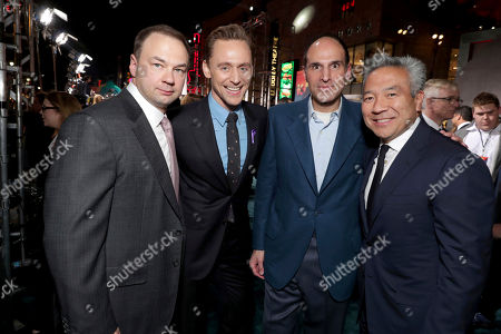 "Producer Thomas Tull, Tom Hiddleston, Producer Jon Jashni and Kevin Tsujihara, Chairman and CEO of Warner Bros., seen at Warner Bros. Pictures and Legendary Pictures Present the Los Angeles Premiere of ""Kong: Skull Island"" at Dolby Theatre, in Los Angeles"
