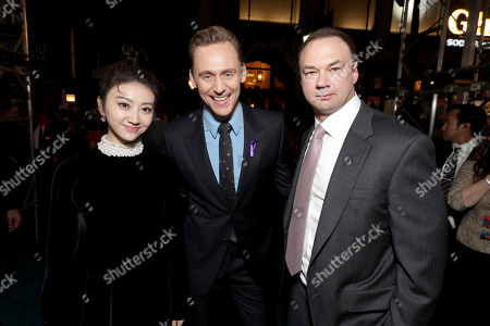 "Tian Jing, Tom Hiddleston and Producer Thomas Tull seen at Warner Bros. Pictures and Legendary Pictures Present the Los Angeles Premiere of ""Kong: Skull Island"" at Dolby Theatre, in Los Angeles"