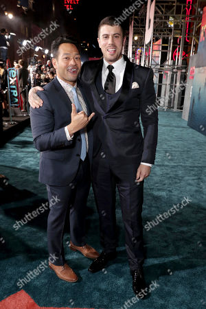"""Eugene Cordero and Toby Kebbell seen at Warner Bros. Pictures and Legendary Pictures Present the Los Angeles Premiere of """"Kong: Skull Island"""" at Dolby Theatre, in Los Angeles"""