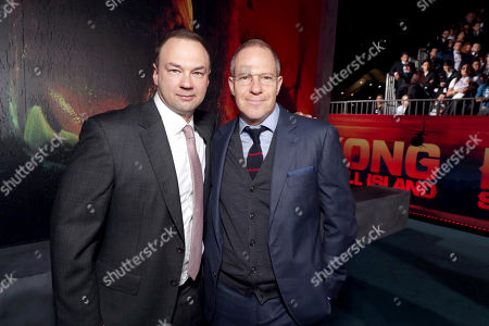 "Thomas Tull and Toby Emmerich, President and COO of New Line Cinema, seen at Warner Bros. Pictures and Legendary Pictures Present the Los Angeles Premiere of ""Kong: Skull Island"" at Dolby Theatre, in Los Angeles"
