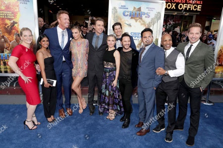 "Carly Hatter, Monica Padman, Jess Rowland, Jessica McNamee, Director/Writer/Producer/Actor Dax Shepard, Kristen Bell, Executive Producer Nate Tuck, Producer Andrew Panay, Michael Pena, Producer Ravi D. Mehta and Ryan Hansen seen at Warner Bros. Pictures Los Angeles Premiere of ""CHIPS"" at TCL Chinese Theatre, in Los Angeles"